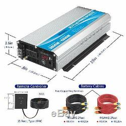 Power Inverter 3000 Watt Dc12 Volt To Ac 120 Volt With Remote Control And Led Di